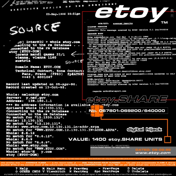 Etoy : etoy.SHARE-CERTIFICATE No. 49 representing digital hijack (1996)