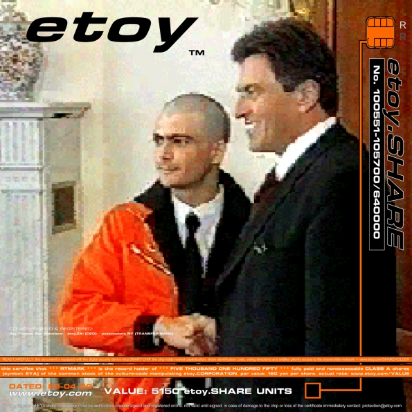 Etoy : etoy.SHARE-CERTIFICATE No. 85 representing etoy.IPO (1998)