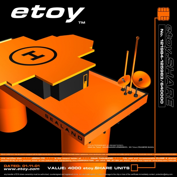 Etoy : etoy.SHARE-CERTIFICATE representing SEALAND (2001)