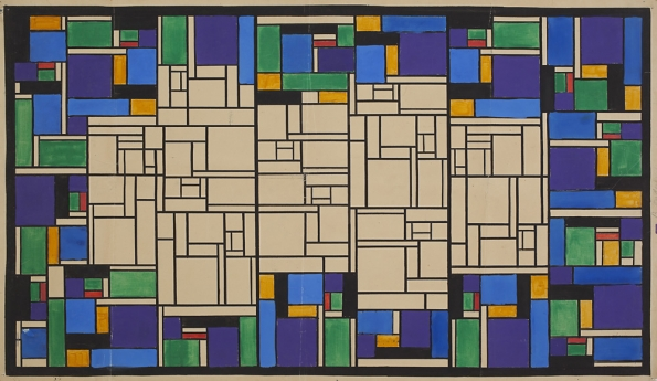 1917_Theo_van_Doesburg_Colour_design_for_Small_Pastoral_stained_glass_1917