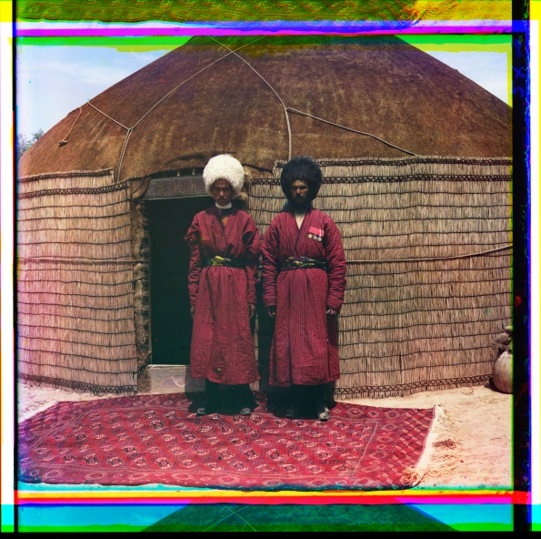 1905_1915_Sergei_Mikhailovich_Prokudin-Gorskii_Two_men_standing_on_a_rug_in_front_of_yurt_1905_1915