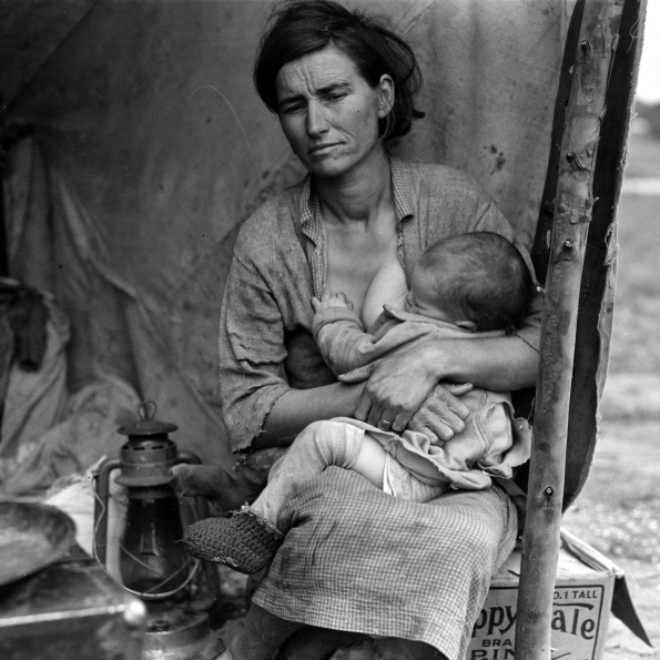 1936_Dorothea_Lange_Migrant_agricultural_worker's_family_Seven_hungry_children_Mother_aged_thirty-two_Father_is_native_Californian_Nipomo_California_1936